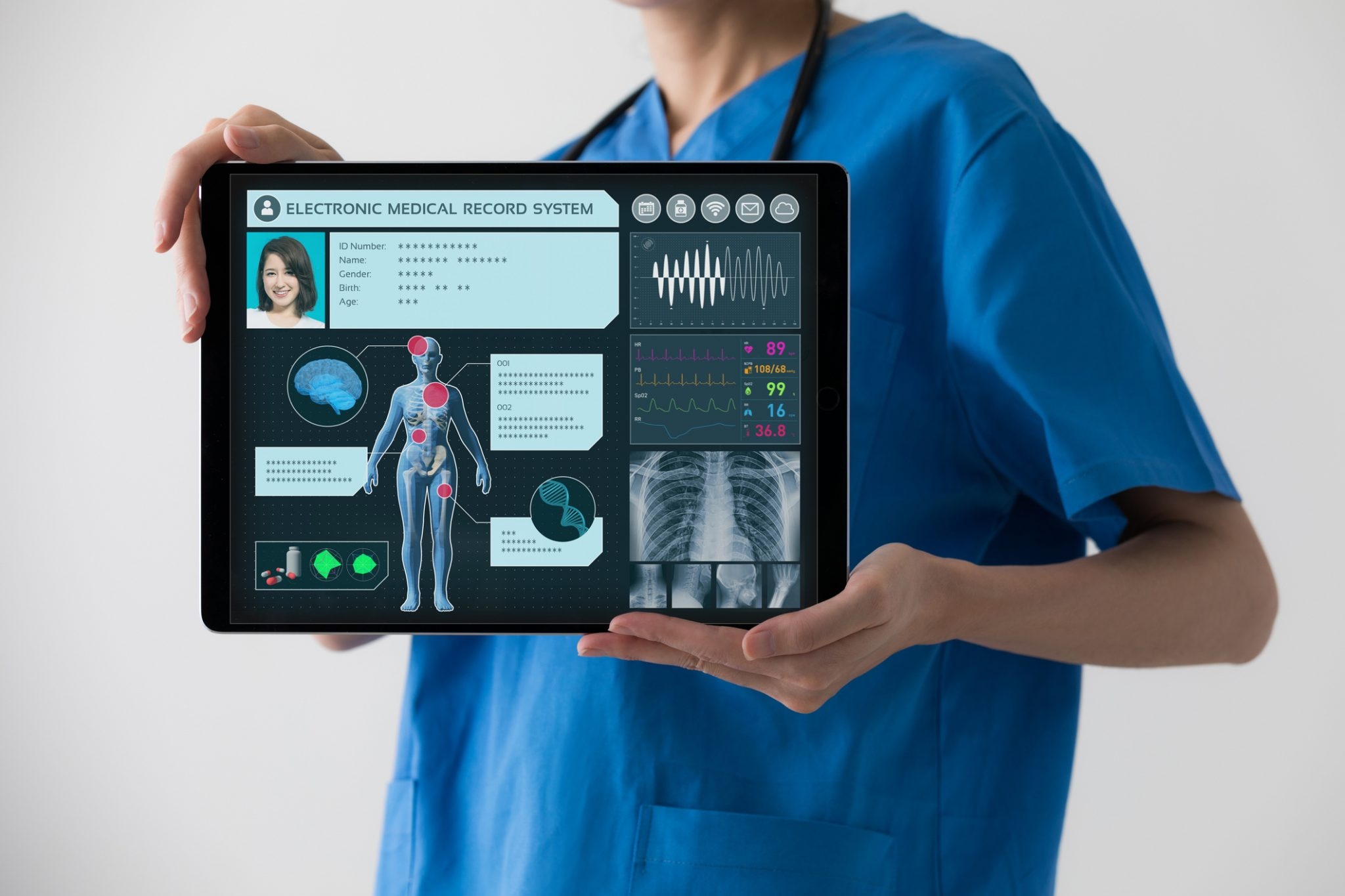 Electronic medical record concept.