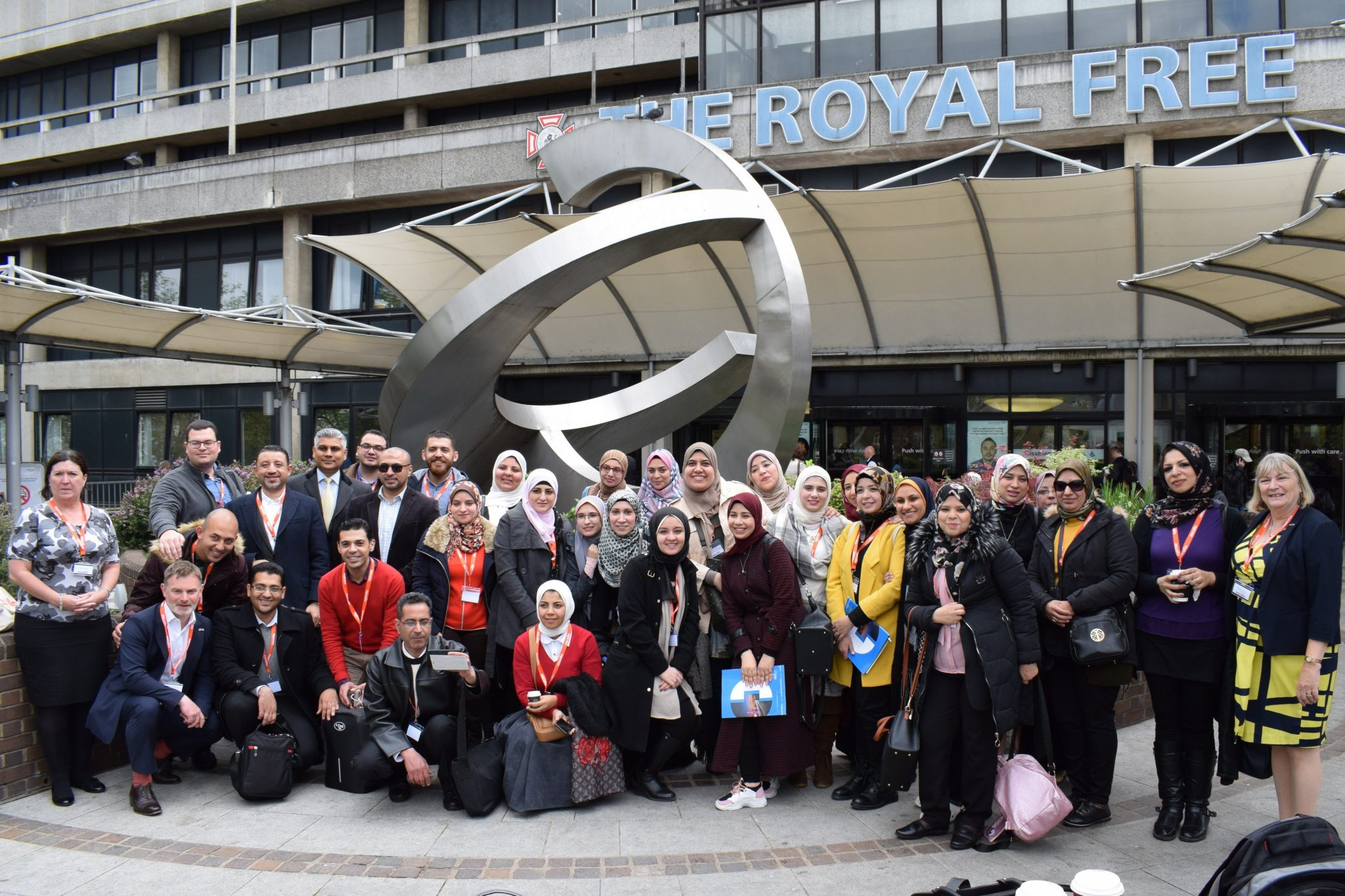 Egyptian Family doctors outside the Royal Free Hospital