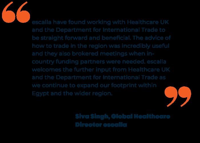 Siva Singh, Global Healthcare Director Escalla quote